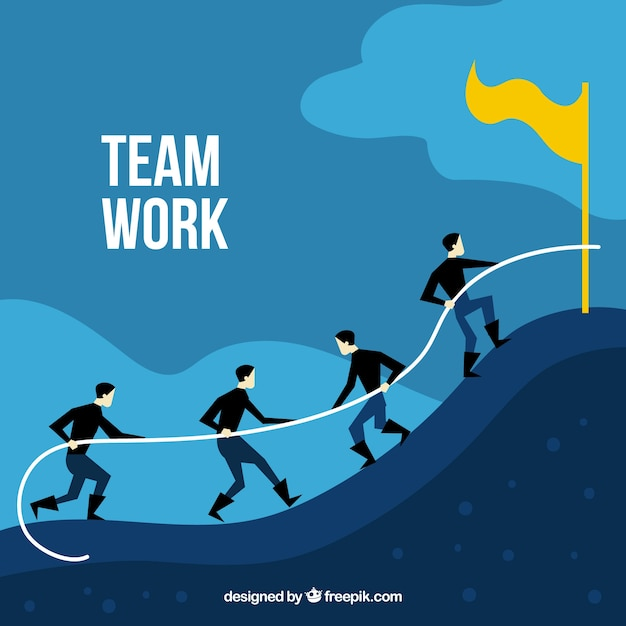 Business teamwork concept with flat\ design