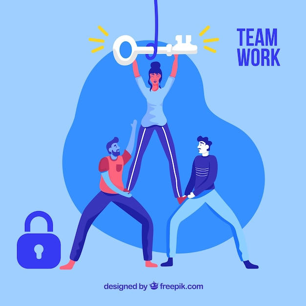 Business teamwork concept with flat\ design