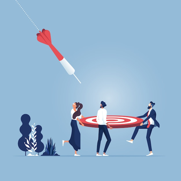 Business teamwork engaged to achieve a target goals Premium Vector