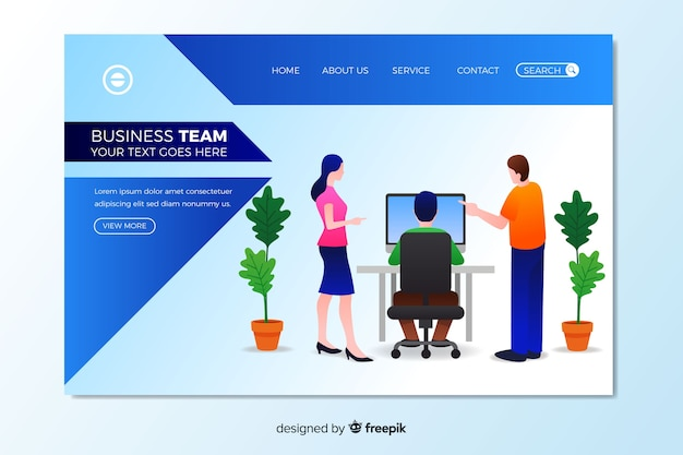 Business teamwork landing page template Free Vector