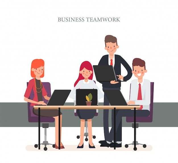 Business teamwork office character colleague. Premium Vector