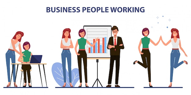 Business teamwork office character with colleague seminar meeting. Premium Vector