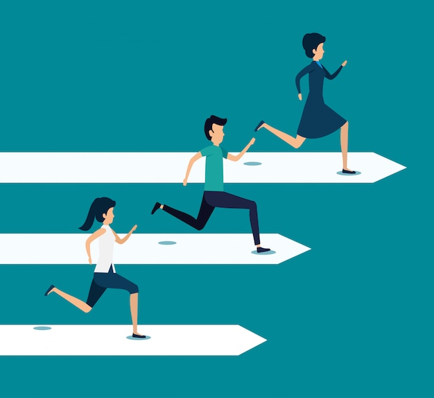Business teamwork running to the goal Free Vector