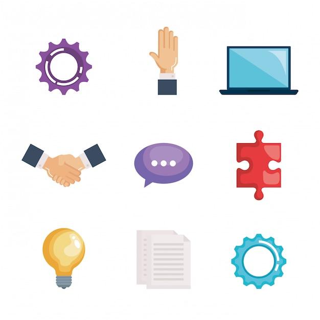 Business teamwork set Free Vector