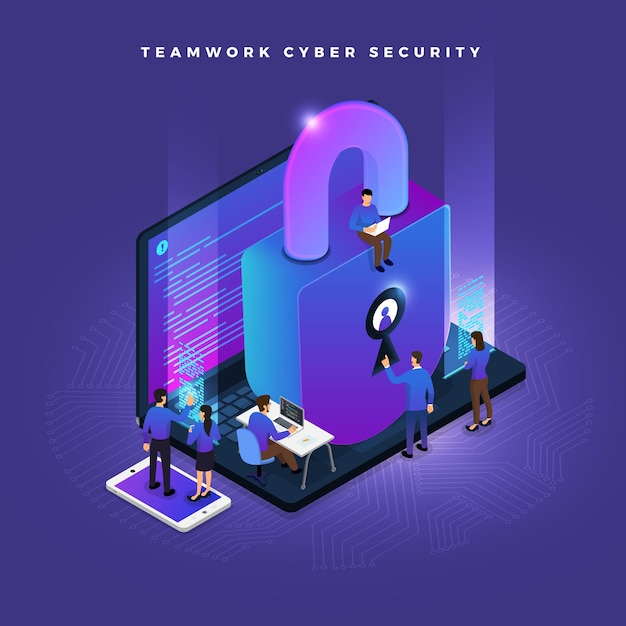 Business teamwork of small peoples working concept cyber security data and computer Premium Vector