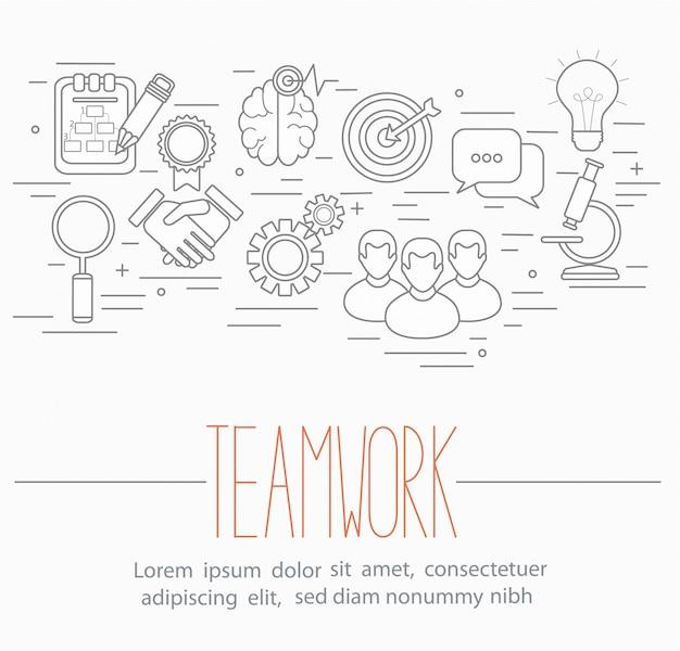 Business teamwork symbols Premium Vector