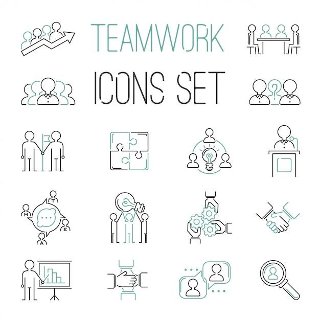 Business teamwork teambuilding outline icons Premium Vector