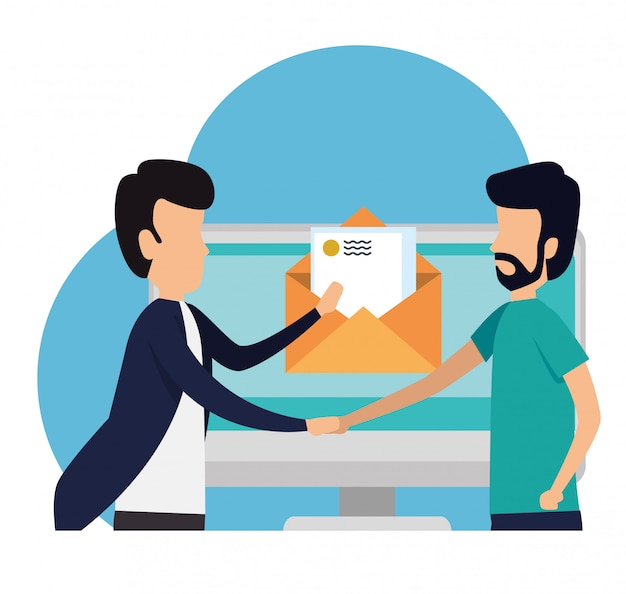 Business teamwork with letter computer message Free Vector