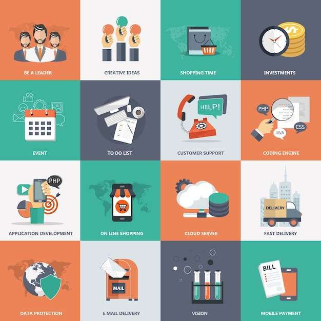 Business, technology and management icon set Free Vector