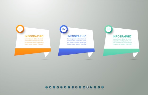 Business template 3 options or steps infographic chart element. Premium Vector