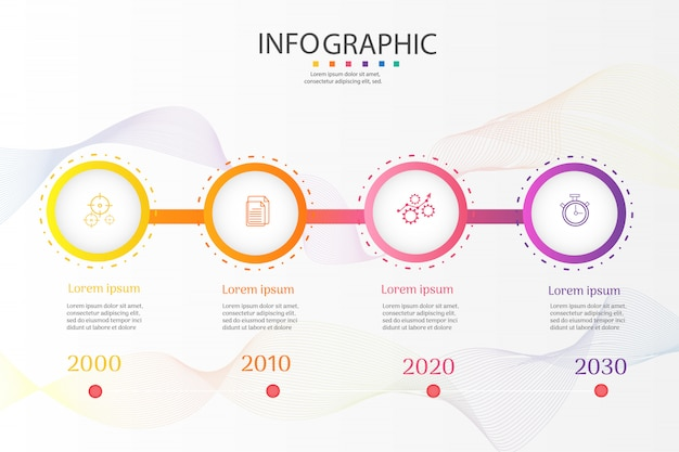 Business template 4 options infographic chart elements Premium Vector