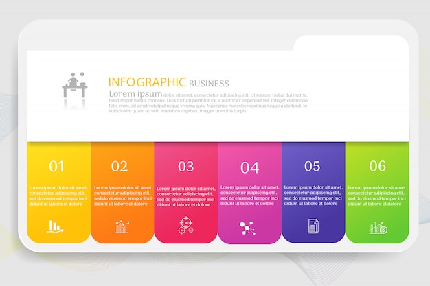 Business template 6 options infographic chart elements Premium Vector