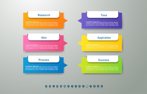 Business template 6 options or steps infographic chart element. Premium Vector