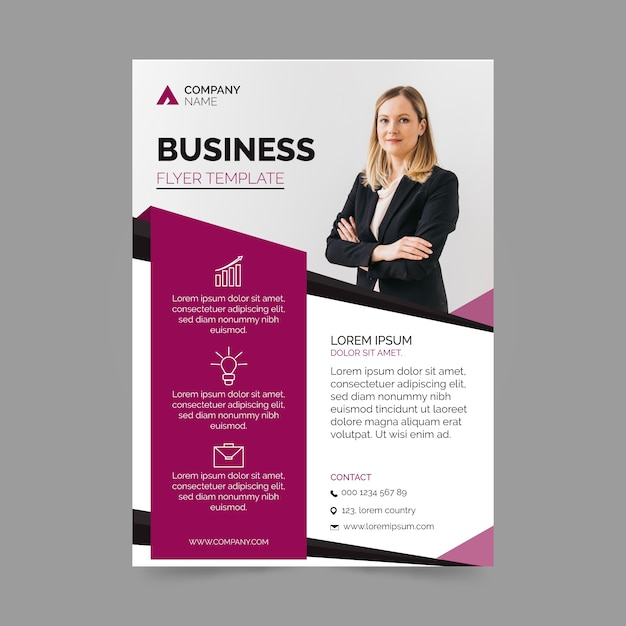 Business template flyer design Premium Vector