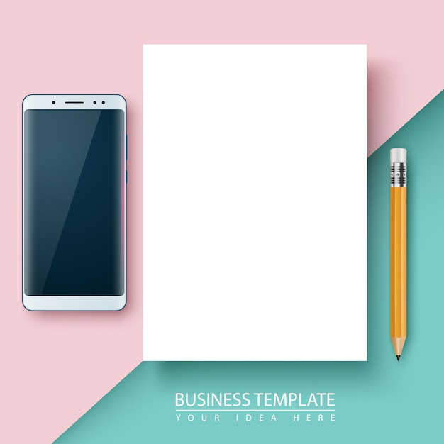 Business template. paper, smartphone pen Premium Vector