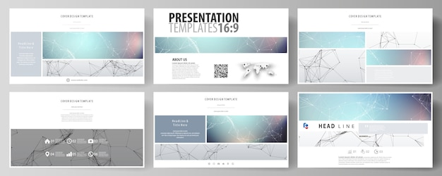 Business templates in hd format for presentation slides. Premium Vector