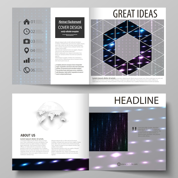 Business templates for square bi fold brochure Premium Vector