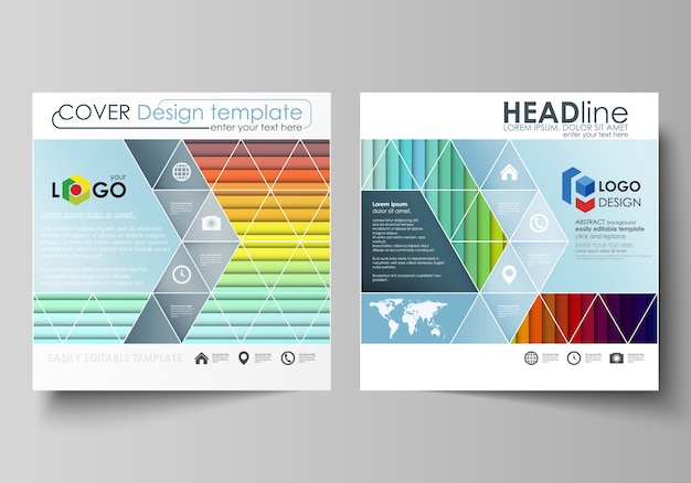Business templates for square brochure Premium Vector