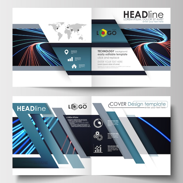 Business templates for square brochure Premium Vector