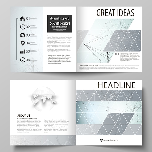 Business templates for square design bi fold brochure, flyer, report. Premium Vector