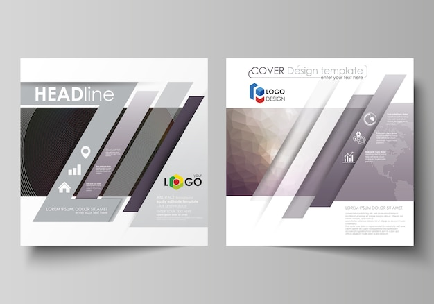 Business templates for square design brochure, magazine, flyer, booklet Premium Vector