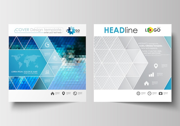 Business templates for square design brochure, magazine, flyer, report. Premium Vector