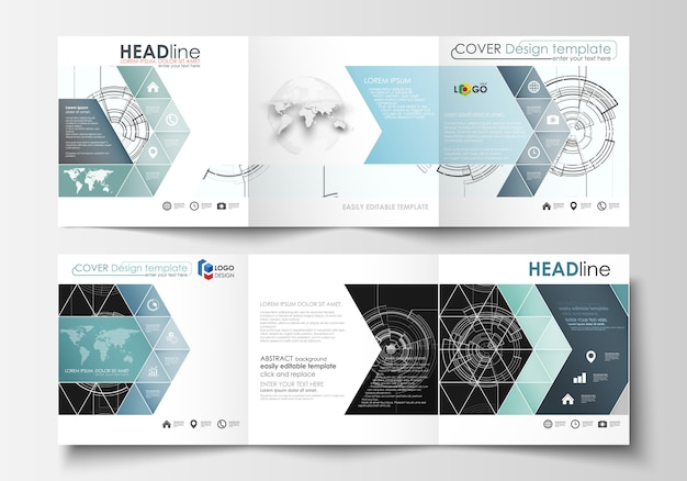 Business templates for square tri fold brochures. Premium Vector