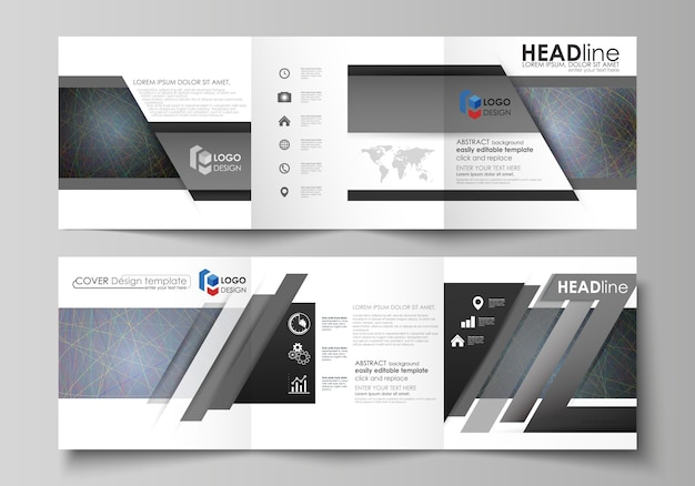Business templates for tri fold square design brochures. Premium Vector