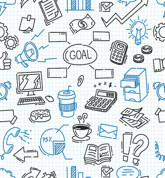 Business themed doodle seamless background Premium Vector