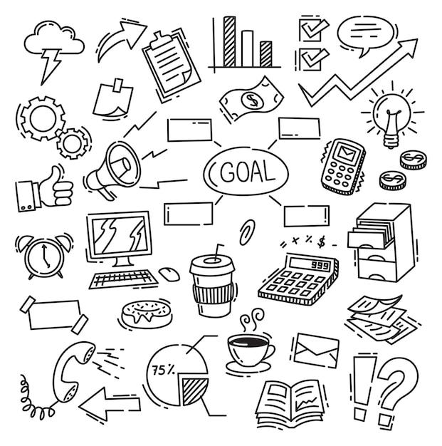 Business themed doodle Premium Vector