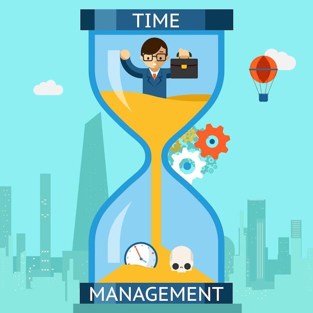 Бизнес-тайм-менеджмент. бизнесмен тонет в песочных часах. часы финансов, крайний срок концепции. векторная иллюстрация Premium векторы
