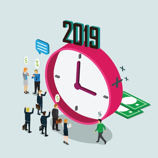 Business time in year Premium Vector