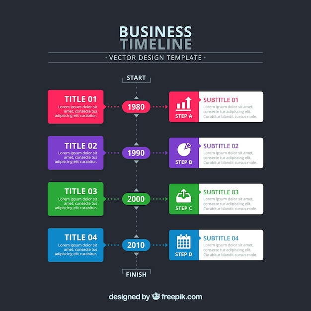 Business timeline concept in four colors Free Vector
