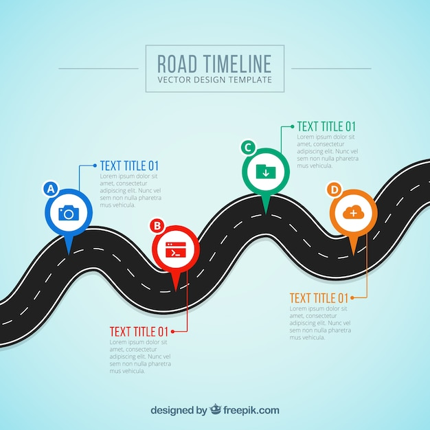 Business timeline concept with curved road Free Vector