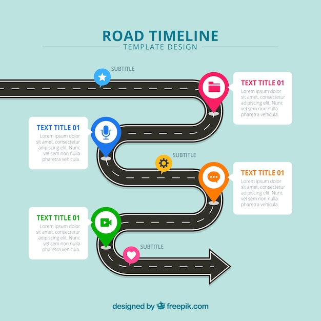 Business timeline concept with road Free Vector