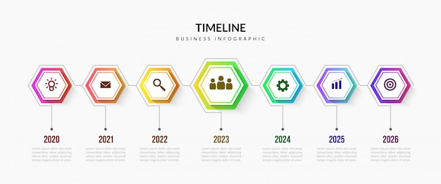 Business timeline infographic elements, colorful process chart with editable segments Premium Vector