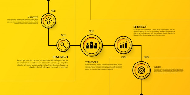 Business timeline infographic with multiple steps, outline data visualization workflow template Premium Vector