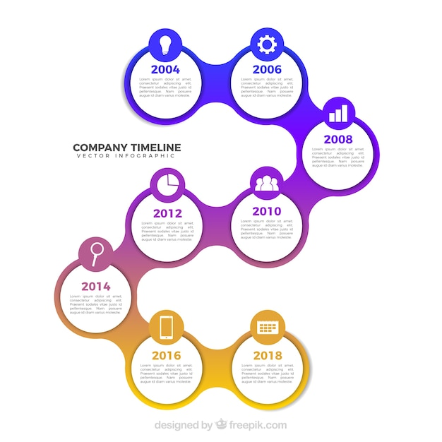 Business timeline template with infographic style Free Vector