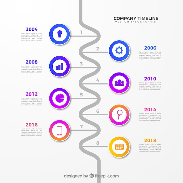 Business Timeline Template | Business Timeline Template With Infographic Style Vector Free Download