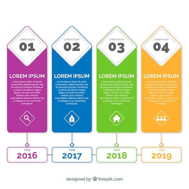 Business timeline with flat design Free Vector