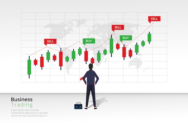 Business trading design concept. businessman character view and analyze bar chart investment. Premium Vector