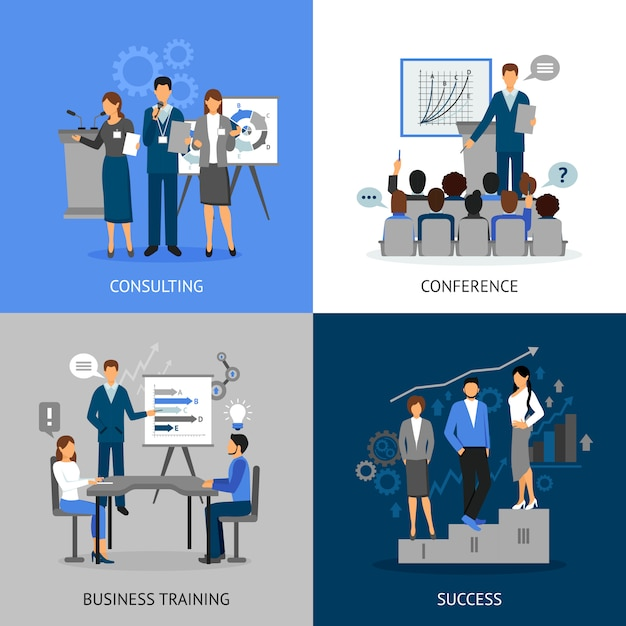 Business training 2x2 images set Free Vector