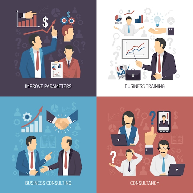 Business training concept elements and characters Free Vector