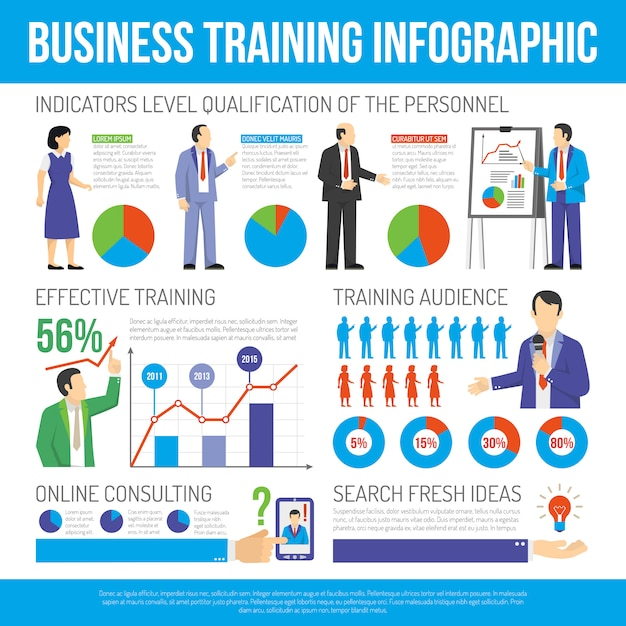 Business training and consulting infographic poster Free Vector