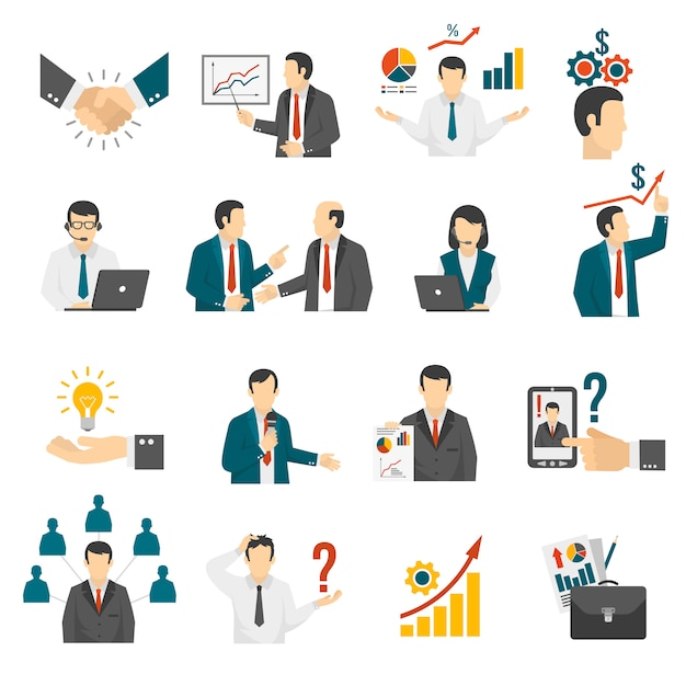 Business training  consulting service icons set. Free Vector