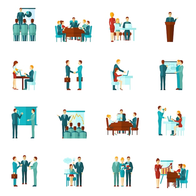 Business training flat icons Free Vector