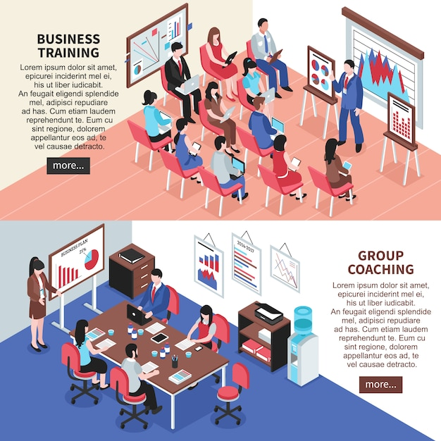 Business training and group coaching banners Free Vector