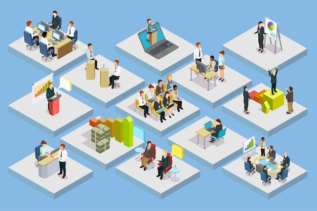 Business training isometric set Free Vector