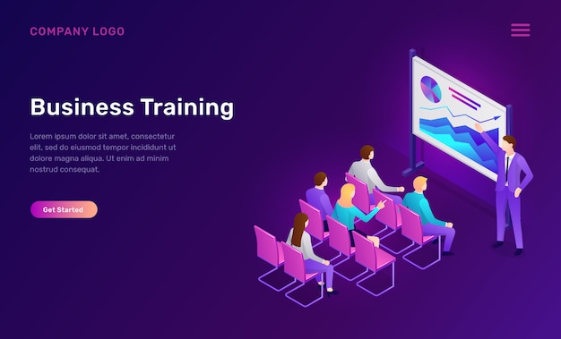 Business training isometric web template Free Vector