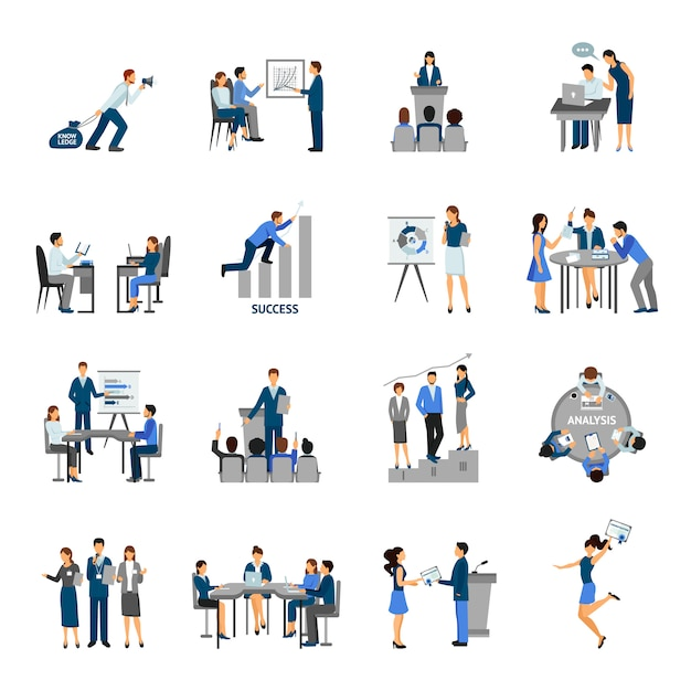 Business training set Free Vector